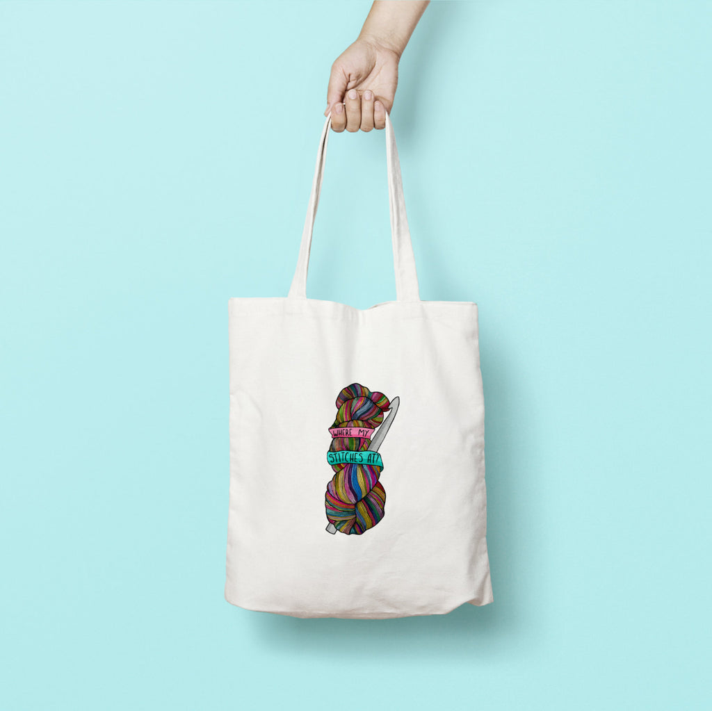 Where My Stitches At Tote Bag - House Of Wonderland, HOW