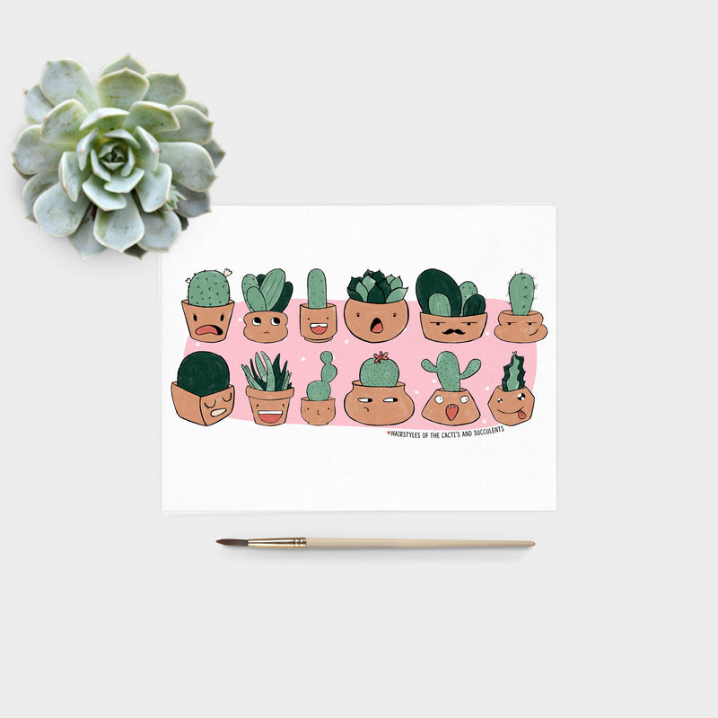Cactus Hairstyles Print - House Of Wonderland, HOW