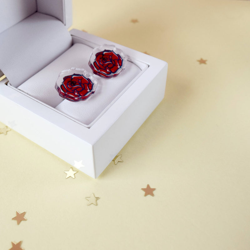 Red Rose Earrings - House Of Wonderland, HOW