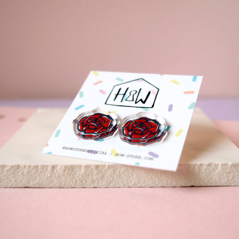 Red Rose Earrings - House Of Wonderland