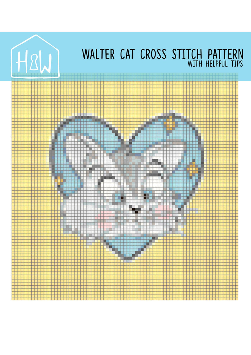 Cat Cross Stitch Pattern - House Of Wonderland, HOW