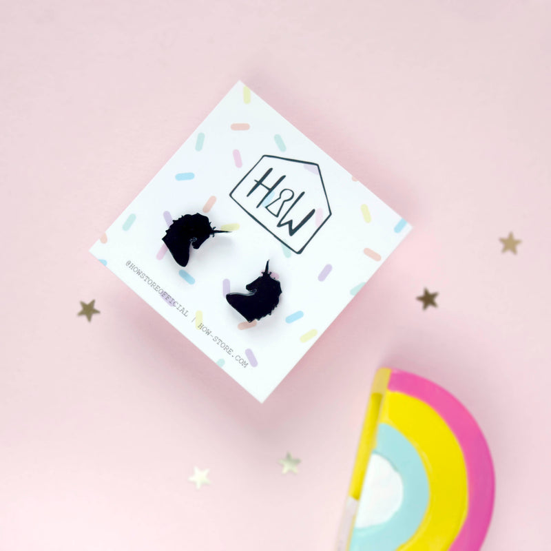 Black Unicorn Earrings - House Of Wonderland, HOW