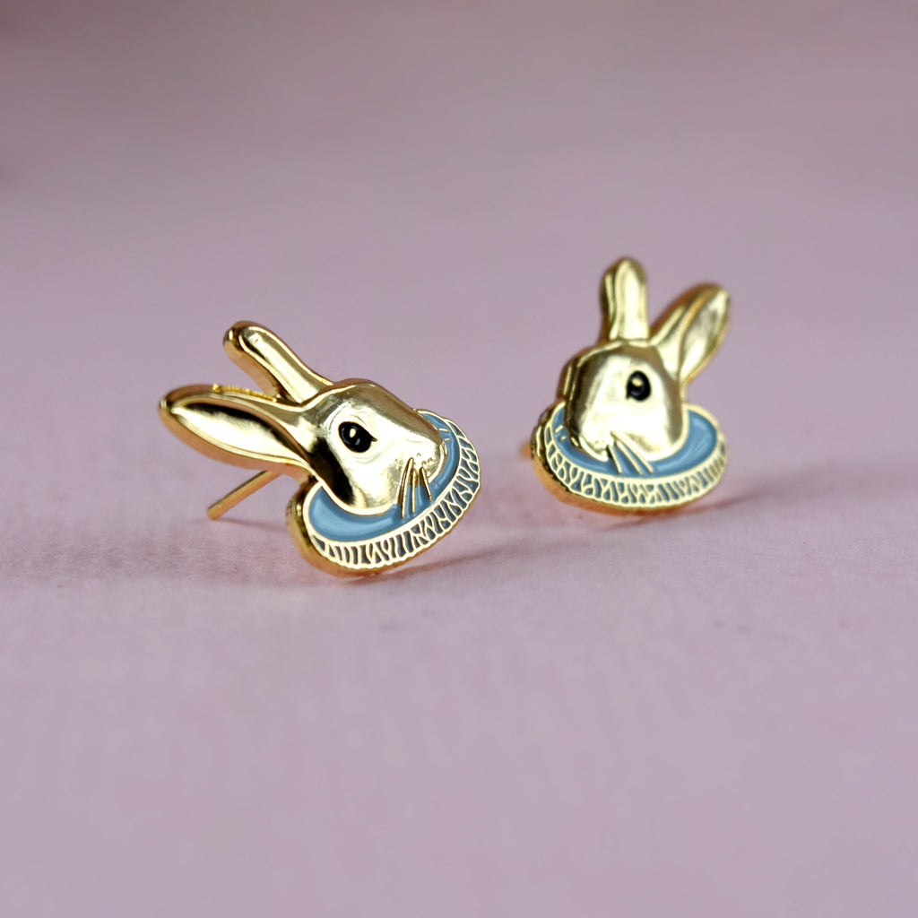 Gold Rabbit Earrings - House Of Wonderland