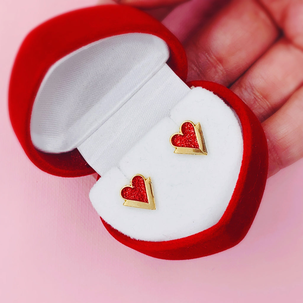 Gold Heart Earrings - House Of Wonderland, HOW