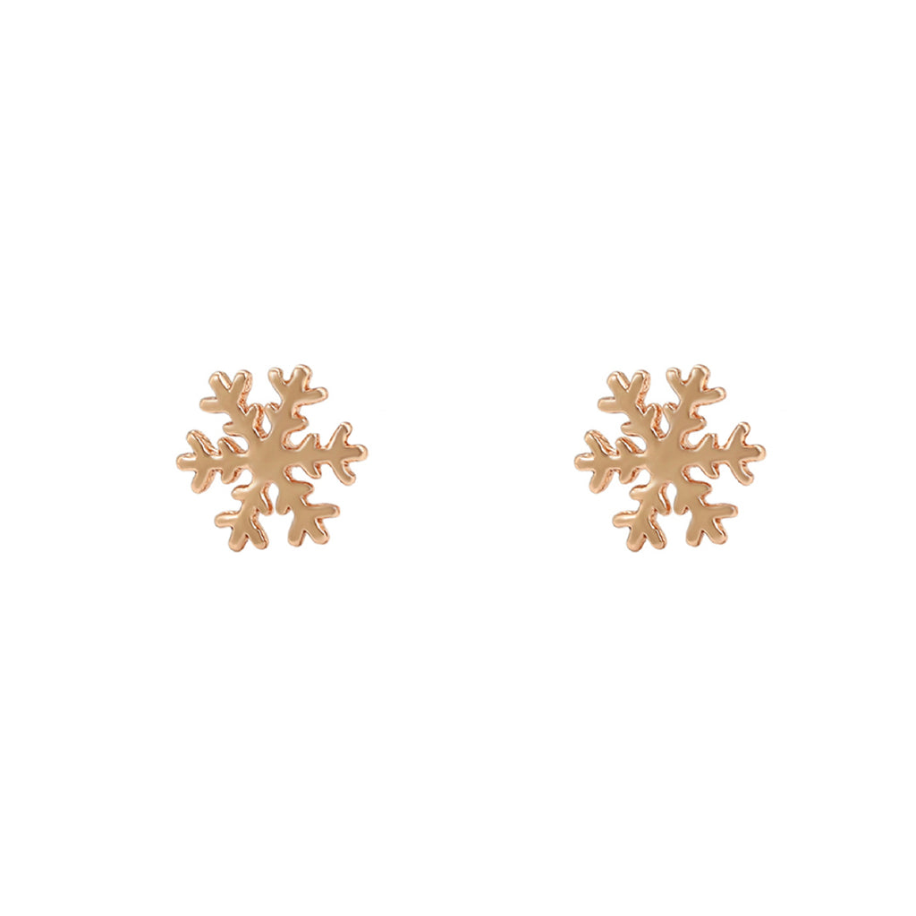 Rose Gold Snowflake Earrings - House Of Wonderland, HOW