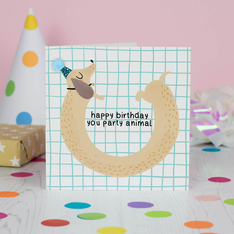 Party Dog Birthday Card - House Of Wonderland, HOW