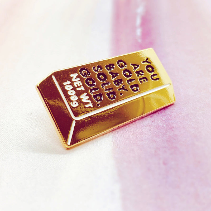 Solid Gold Bar Enamel Pin - House Of Wonderland, HOW