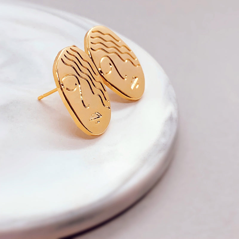 Gold Girl Earrings - House Of Wonderland, HOW