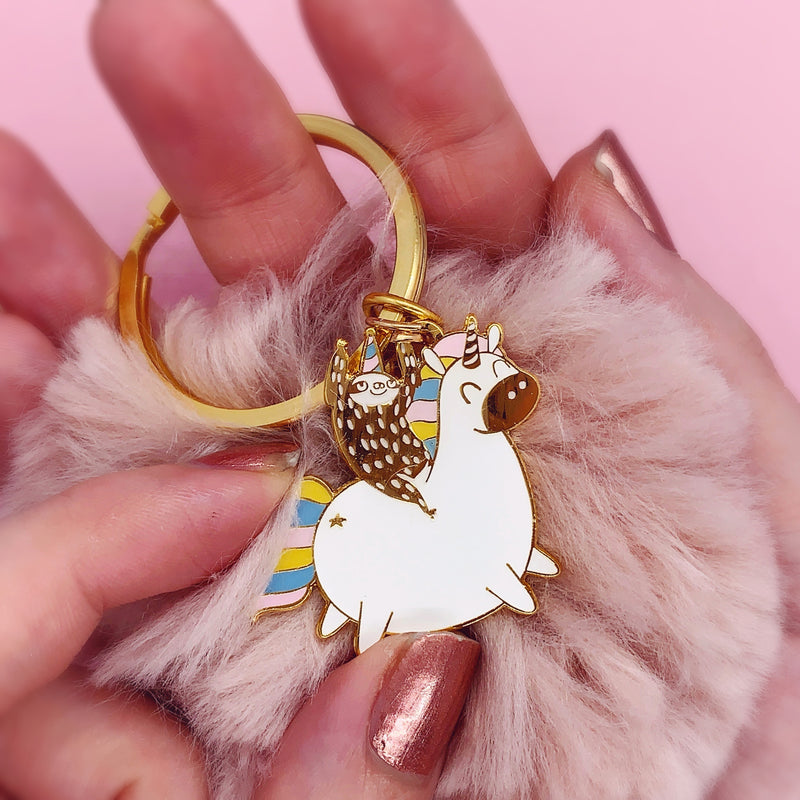 Unicorn Sloth Pom Pom Keyring - House Of Wonderland, HOW