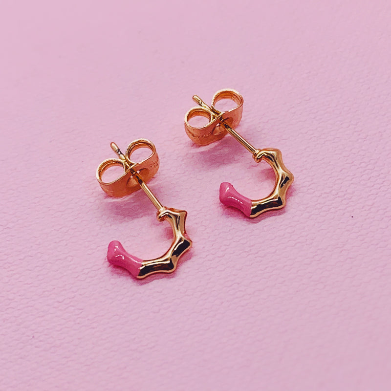 Pink & Gold Hoop Earrings - House Of Wonderland, HOW