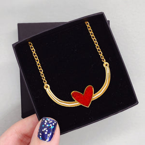 Gold Heart & Arrow Necklace - House Of Wonderland, HOW