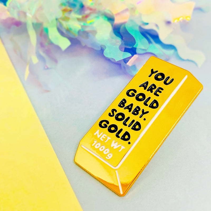 Solid Gold Bar Enamel Pin