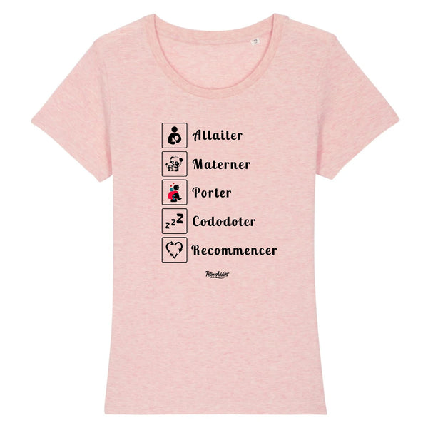T-shirt Allaitement - Allaiter Materner Porter Cododoter Recommencer