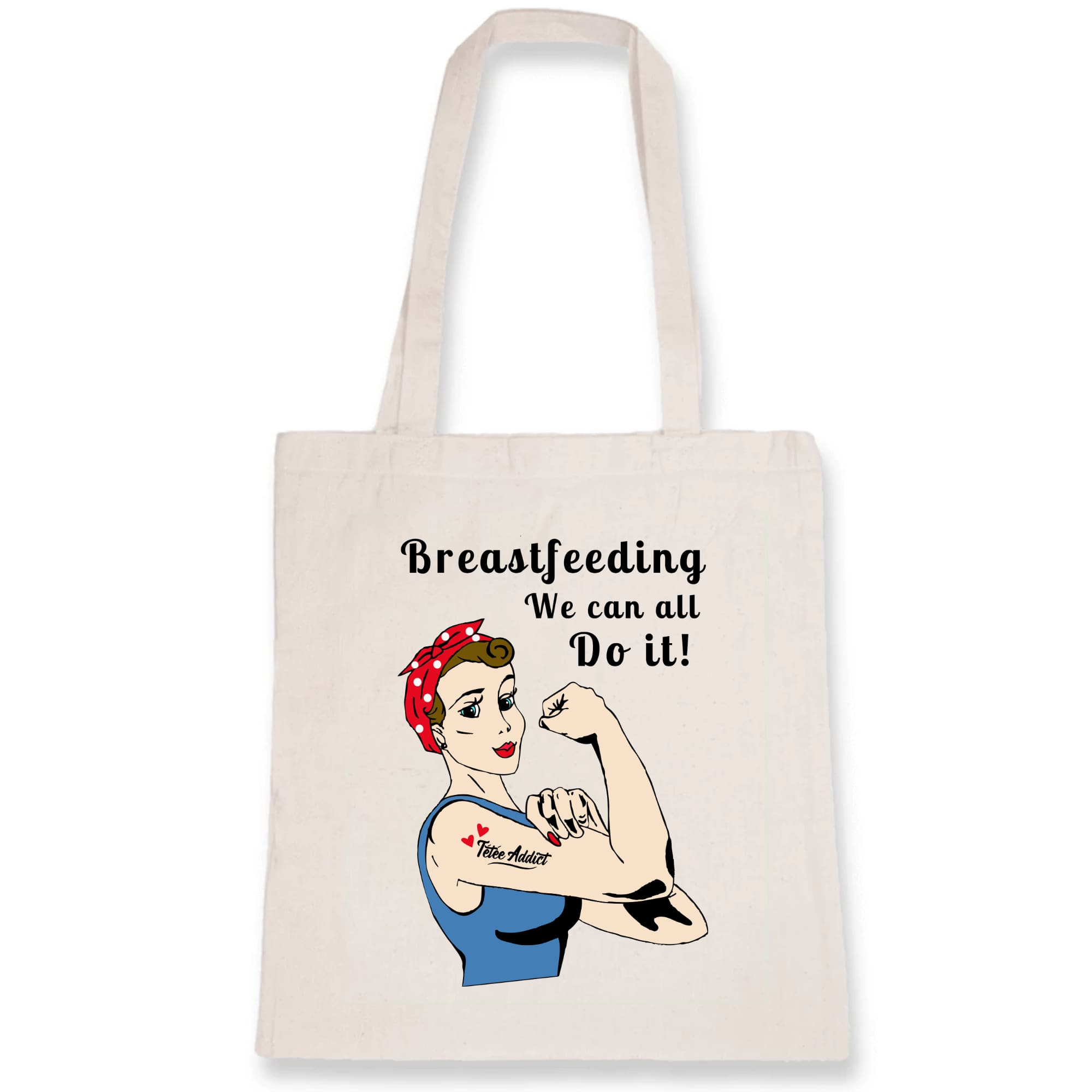 Tote Bag Personnalisé Féminisme et Allaitement Coton BIO - Breastfeeding We Can All Do It