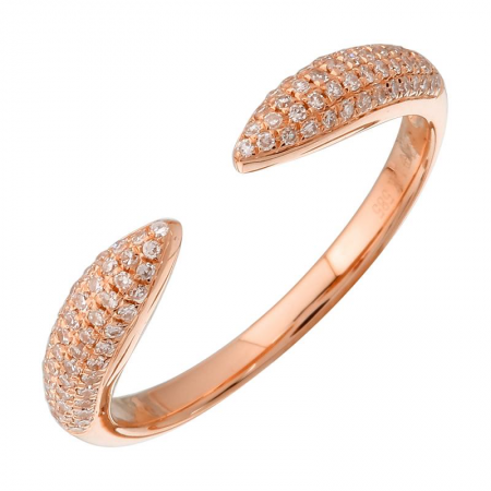 Triple Row Diamond Claw Ring