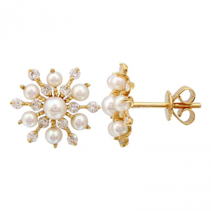 Starburst Diamond and Pearl Earrings