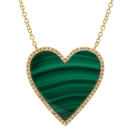 Nogama 14k Yellow Gold Malachite Heart Necklace