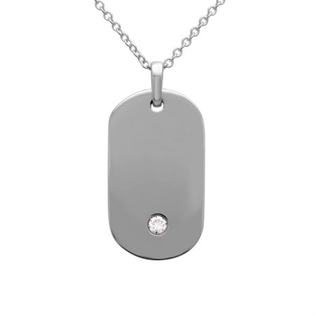 Nogama Single Diamond Dog Tag Pendant