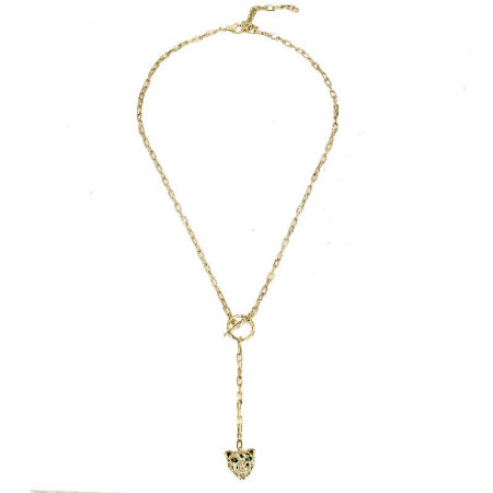 Gold Panther Diamond Lariat Necklace