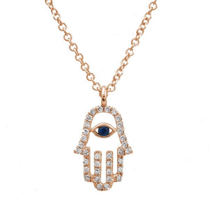 Nogama Diamond Hamsa Pendant Necklace
