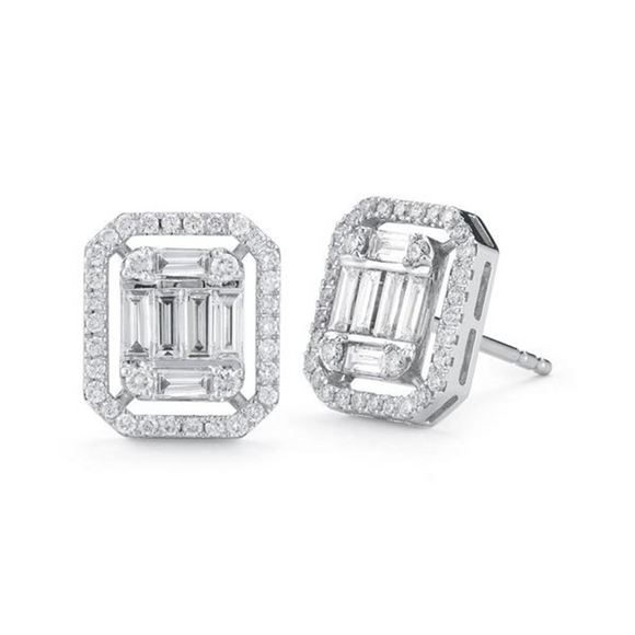 Jane Kaye Diamond Baguette Studs