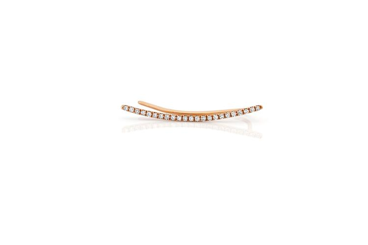 EF Collection Diamond Curved Bar ear Cuff