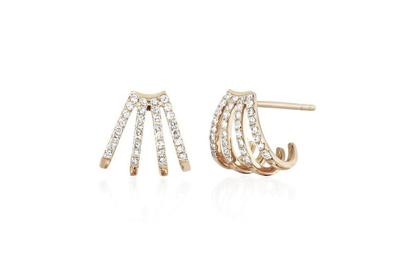 EF Collection Diamond Multi Huggie Earrings