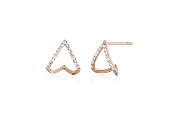 EF Collection Diamond Chevron Huggie Earring
