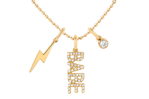EF Collection Diamond BABE Charm Necklace