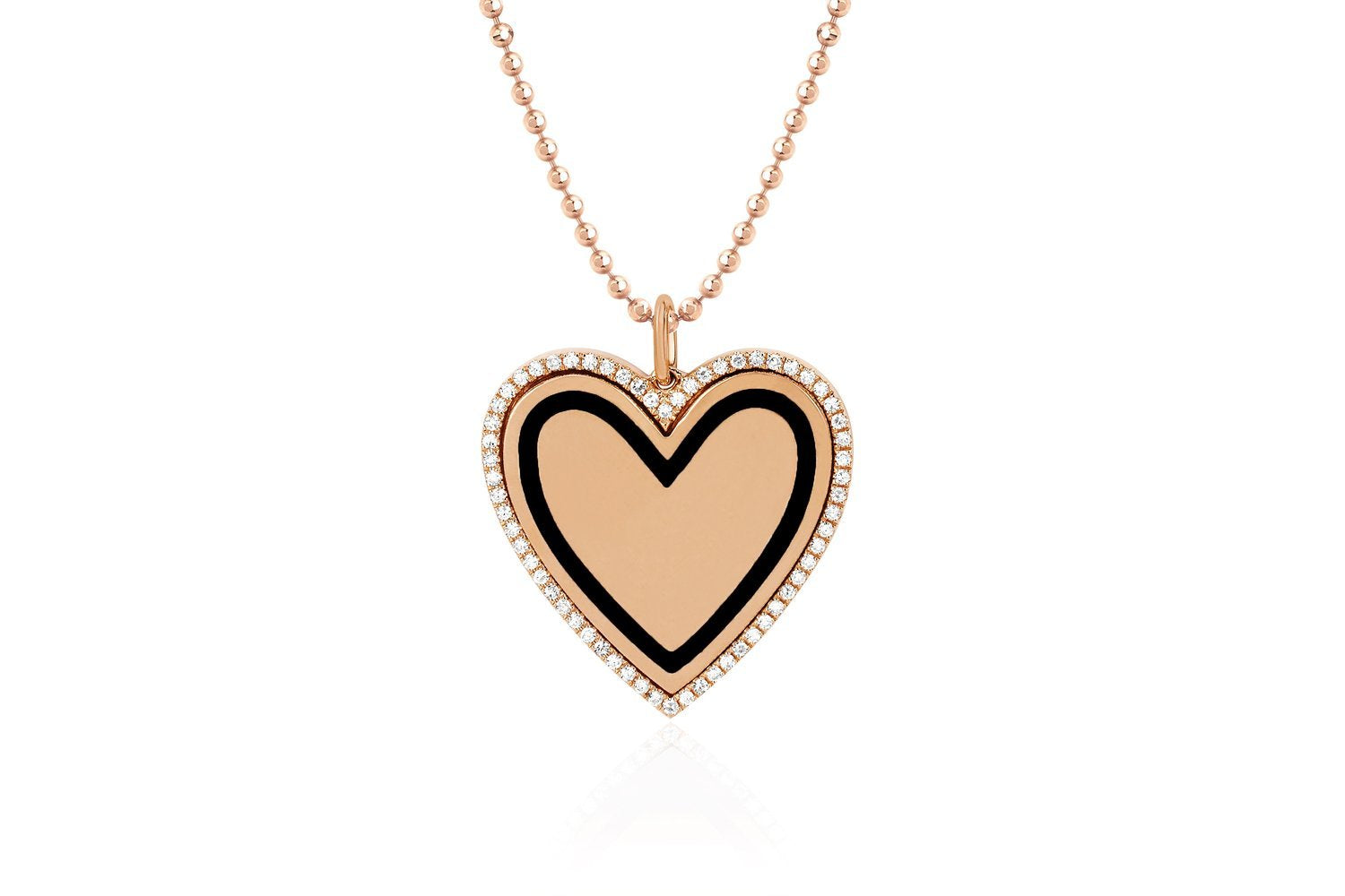 Diamond and Black Enamel Heart Necklace