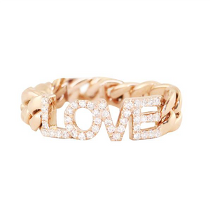 Luna Skye Diamond LOVE Chain Ring