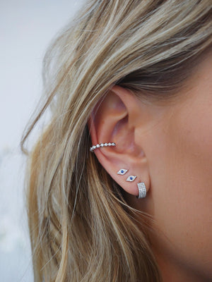 EF Collection Diamond Bezel Large Ear Cuf