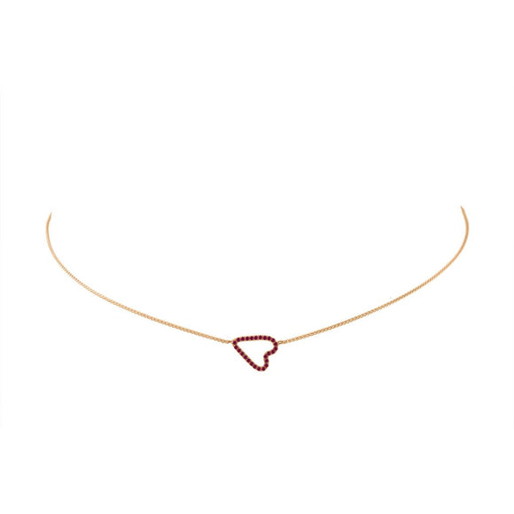 Jane Kaye Sideways Ruby Pave Heart Necklace