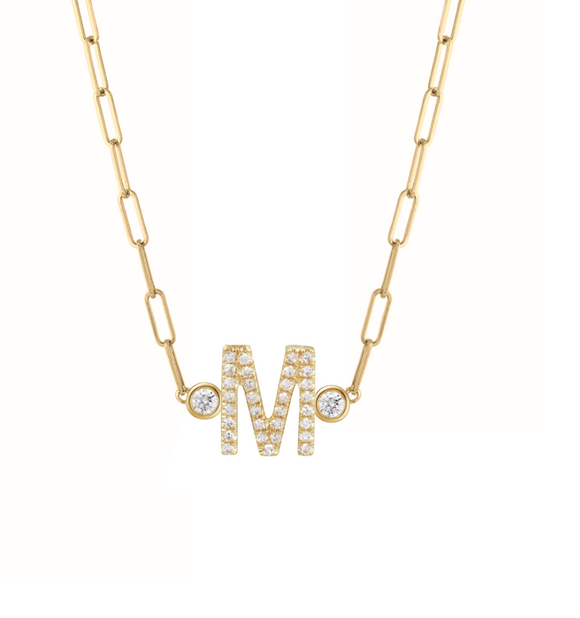 Diamond Initial and Bezels Paper Clip Necklace