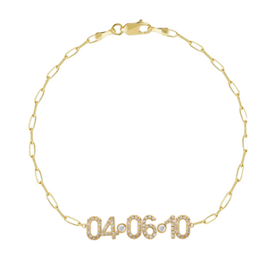 Diamond Date Bracelet on Thin Paperclip Chain