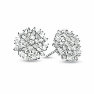 Baguette and Round Diamond Cluster studs