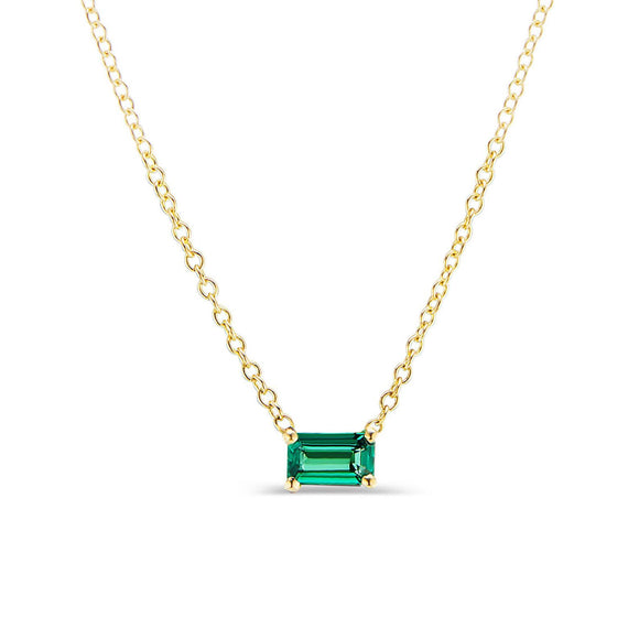 Green Tourmaline Solitaire Necklace