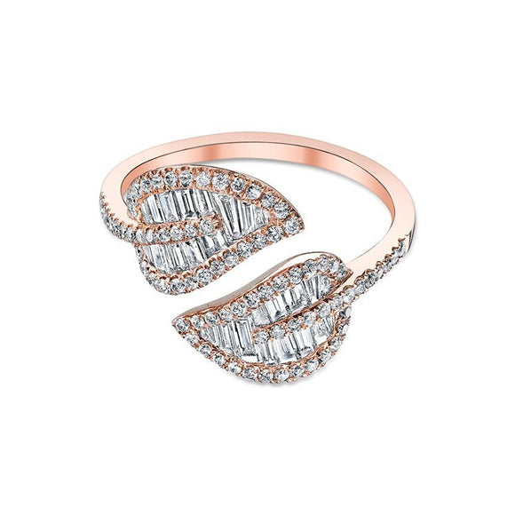 Nogama Rose Gold & Diamond Baguette Leaf Ring
