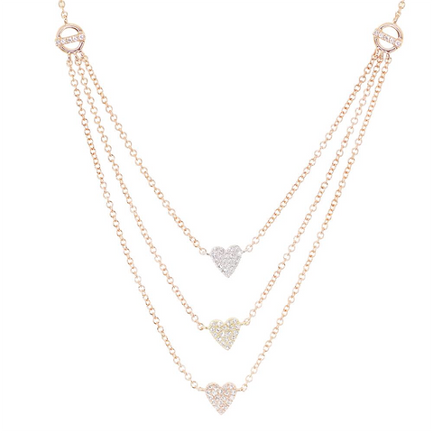 Luna Skye Three Heart Layer Necklace
