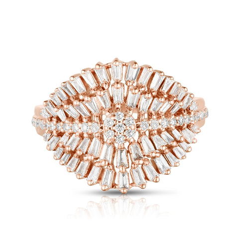 Feathered Baguette Diamond Ring