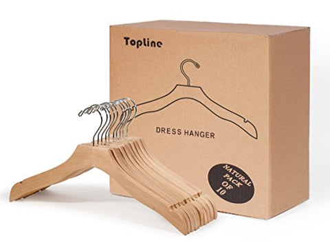 Classic Wood Bridal Dress Hangers - Pack of 10