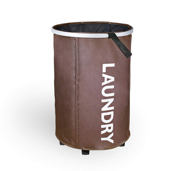 Collapsible Round Rolling Laundry Hamper with Mesh Closure