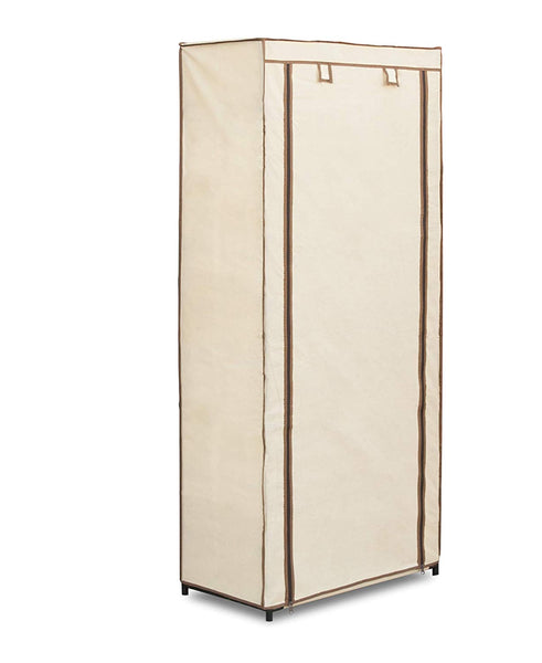Freestanding Covered Closet - 6 Shelves with Hanging Rack