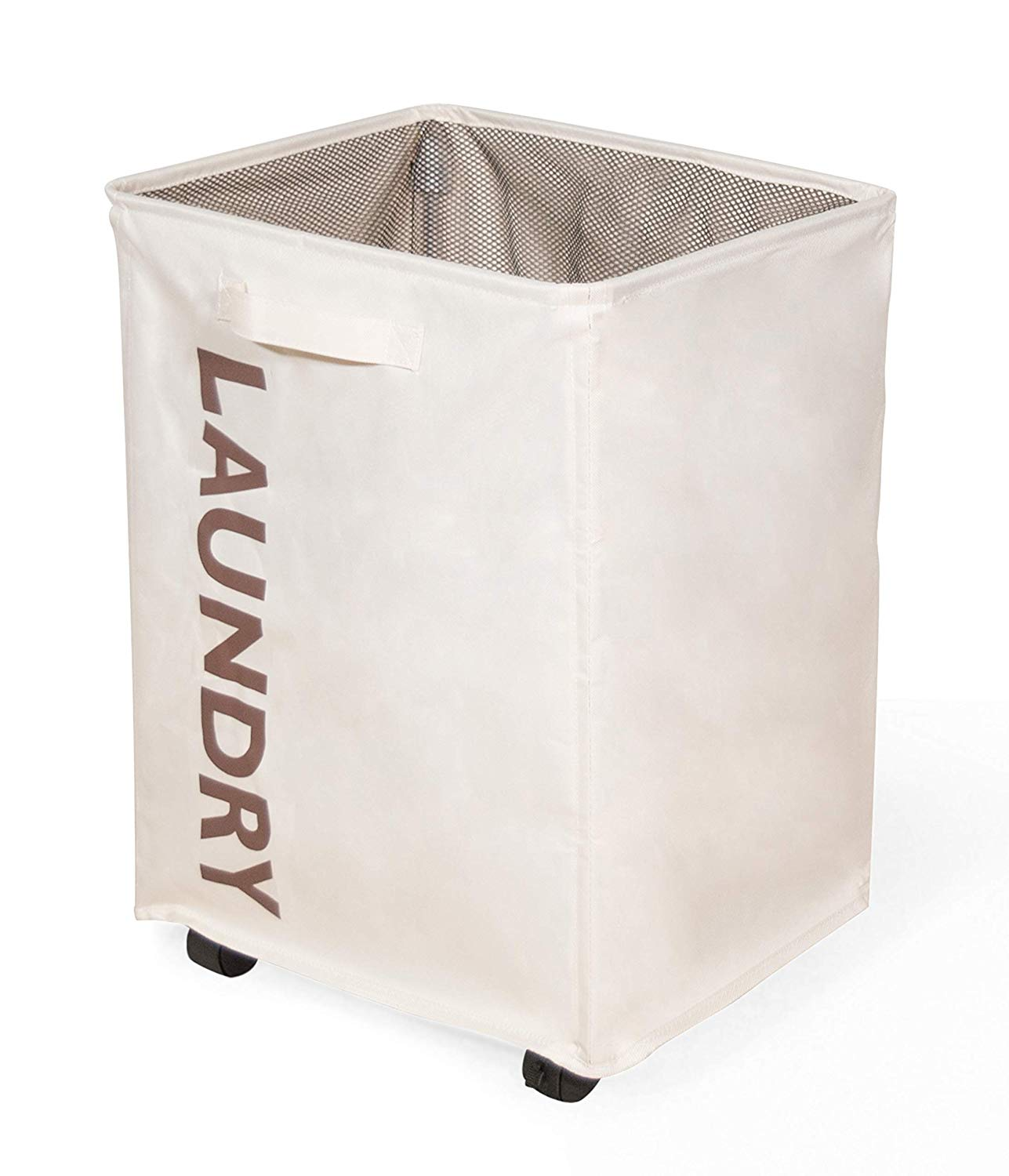 Laundry Hamper with Lockable Wheels, and Mesh Drawstring Closure