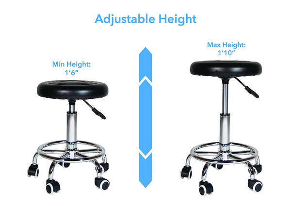 360-Degree Rolling Swivel Adjustable Stool Chair with Foot Rest
