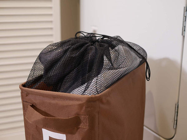 Slim Collapsible Laundry Hamper with Lockable Wheels, and Mesh Drawstring Closure