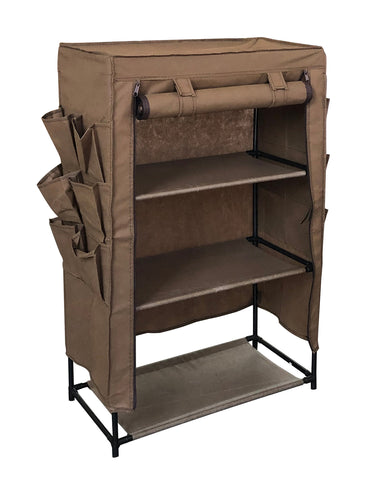 Compact Covered Shoe Storage with Exterior Pockets