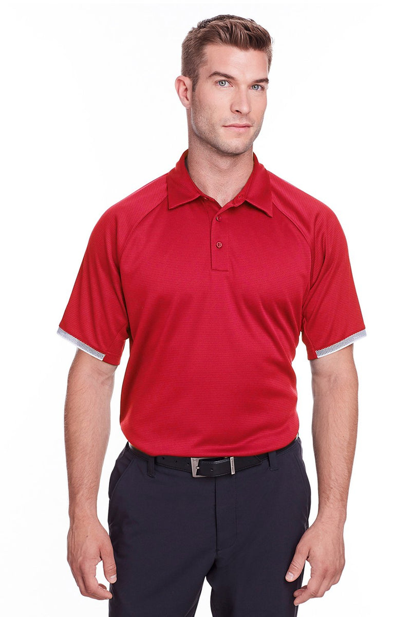 Firebrick Under Armour Men's Corporate Rival Performance Moisture Wicking Short Sleeve Polo Shirt