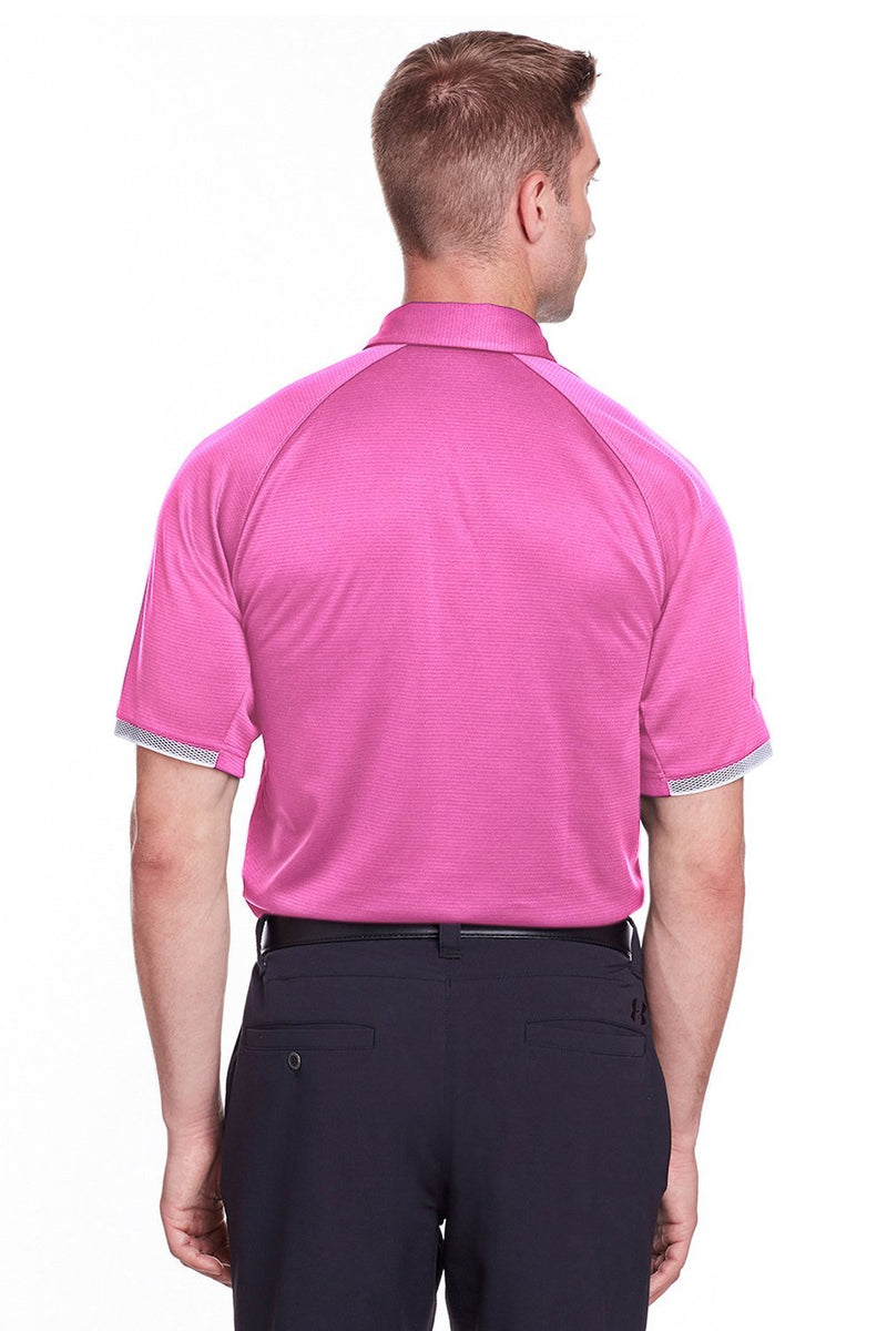 Hot Pink Under Armour Men's Corporate Rival Performance Moisture Wicking Short Sleeve Polo Shirt