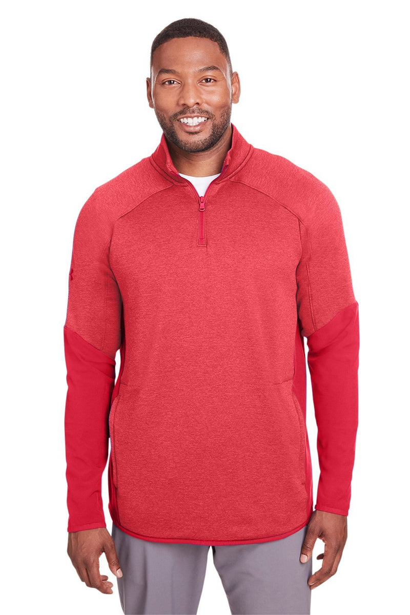 White Under Armour Men's Qualifier Corporate Performance Moisture Wicking Hybrid 1/4 Zip Sweatshirt